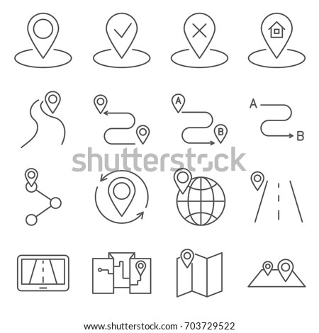 Simple Set of route Related Vector Line Icons. Contains such Icons as  location, trail, way, road, highway, direction, navigator and more.