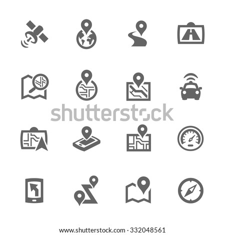 Simple Set of Satellite Navigation Related Vector Icons for Your Design.