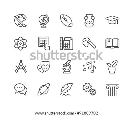 Simple Set of School Subjects Related Vector Line Icons.  Contains such Icons as History, Math, Biology, Chemistry, Geometry and more. Editable Stroke. 48x48 Pixel Perfect.