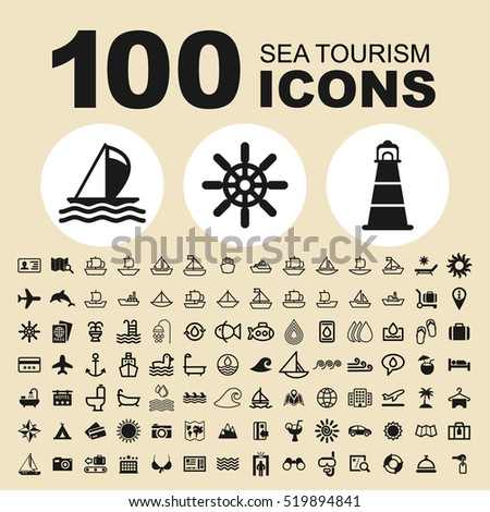 Simple Set Of Sea Tourism Related Vector Icons. Contains such Icons as Sea, Beach, Summer, Travel, Boat, Ship, Hotel, Service, Hotel, Plane, Suitcase, Tour, Holiday, Bag, Swimming and more.