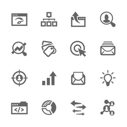 Simple Set of SEO Related Vector Icons. Contains such icons as mailing, target audience, tags, ideas, statistics, optimisation and more. Modern vector pictogram collection.