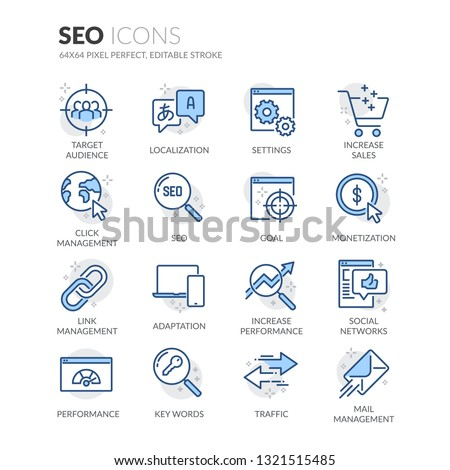 Simple Set of SEO Related Vector Line Icons. Contains such Icons as Localization, Traffic, Performance Tracking and more. Editable Stroke. 64x64 Pixel Perfect.