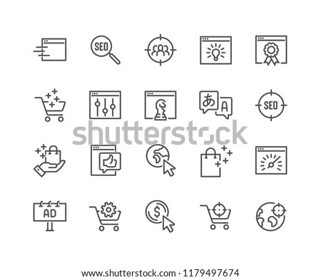 Simple Set of SEO Related Vector Line Icons. Contains such Icons as Target Audience, Increase Sales, Web-site Performance and more. Editable Stroke. 48x48 Pixel Perfect.