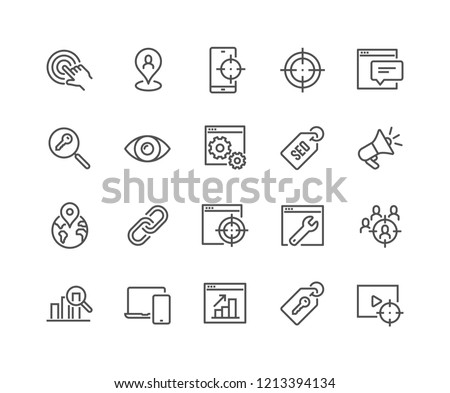 Simple Set of SEO Related Vector Line Icons. Contains such Icons as Target, Watch List, Website Stats and more. Editable Stroke. 48x48 Pixel Perfect.