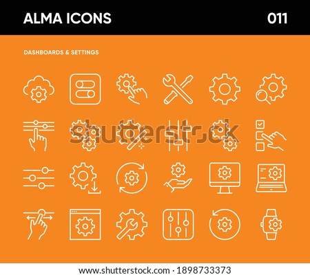 Simple Set of Setup and Settings Related Vector Line Icons. Contains such Icons as Cogwheel, Installation Wizard, Computer Settings, Restore Options, Setup Configuration and more. 64x64 Pixel Perfect.