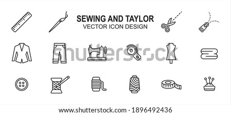 Simple Set of sewing and taylor Related lineal style Vector icon user interface graphic design. Contains such Icons as sewing machine, scissor, tuxedo, pant, disc cutter, dummy, button, measure tape Foto stock ©