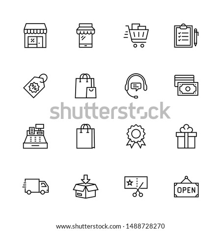 Simple Set of Shopping Related Vector Line Icons. Contains such Icons as Mobile Shop, Payment Options, Sizing Guide, Starred, Delivery and more. Editable Stroke. 32x32 Pixel Perfect.