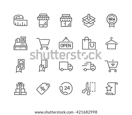Simple Set of Shopping Related Vector Line Icons.  Contains such Icons as Mobile Shop, Payment Options, Sizing Guide, Starred, Delivery and more.  Editable Stroke. 48x48 Pixel Perfect.
