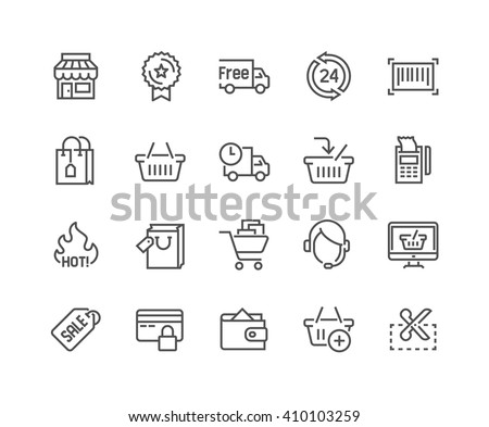 Simple Set of Shopping Related Vector Line Icons. Contains such Icons as Shop Icon, Delivery, Shopping bag, Sale, Wallet, Online Support, Shopping Icon and more. Editable Stroke. 48x48 Pixel Perfect.