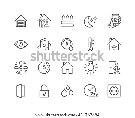 Simple Set of Smart House Related Vector Line Icons.  Contains such Icons as Fan Control, Camera, Light Settings, Humidity and more.  Editable Stroke. 48x48 Pixel Perfect.