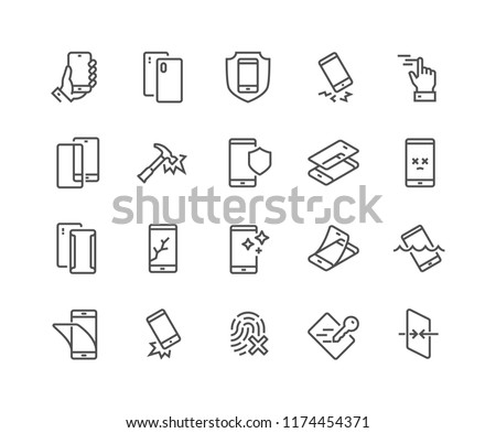 Simple Set of Smartphone Protection Related Vector Line Icons.  Contains such Icons as Screen Protector, Delicate Touch, Tempered Glass and more. Editable Stroke. 48x48 Pixel Perfect.