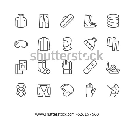 Simple Set of Snowboarding Related Vector Line Icons.  Contains such Icons as Body Armor, Snowboard Bindings, Protecting Equipment and more. Editable Stroke. 48x48 Pixel Perfect.