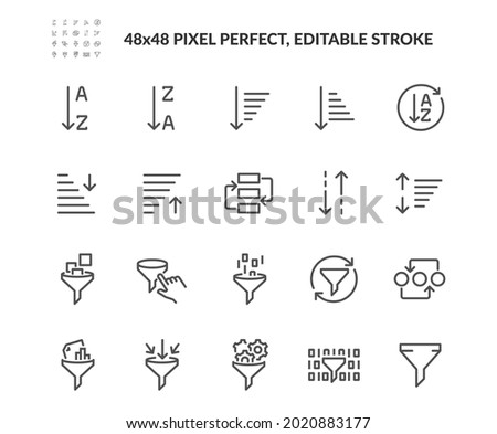 Simple Set of Sorting And Filtering Related Vector Line Icons.  Contains such Icons as Data Processing, Structure Order, Digital Management and more. Editable Stroke. 48x48 Pixel Perfect.