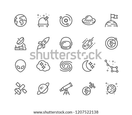 Simple Set of Space Related Vector Line Icons. Contains such Icons as Observatory, Planet Earth, Alien and more. Editable Stroke. 48x48 Pixel Perfect.