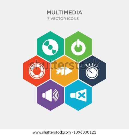 simple set of speaker mute, speakers volume, volume control, fast icons, contains such as icons diaphragm, power on button, compact disc with glare and more. 64x64 pixel perfect. infographics vector