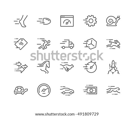 Simple Set of Speed Related Vector Line Icons.  Contains such Icons as Cheetah, Snail, Express Delivery, Rocket, Race and more.  Editable Stroke. 48x48 Pixel Perfect.