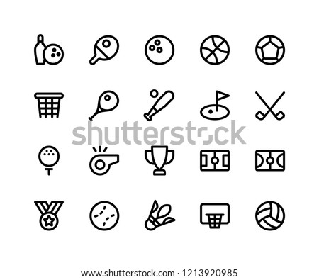 Simple Set of Sport Related Vector Line Icons. Contains such Icons as bowling, tennis, basketball, soccer, baseball and More. pixel perfect vector icons based on 32px grid. Editable Strokes.