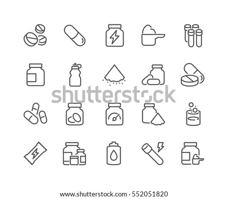 Shutterstock Simple Set of Sport Supplements Related Vector Line Icons.  Contains such Icons as Protein, Vitamin, Full Stack Supplements and more. Editable Stroke. 48x48 Pixel Perfect.