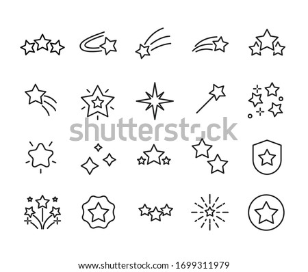 Simple set of star icons in trendy line style. Modern vector symbols, isolated on a white background. Linear pictogram pack. Line icons collection for web apps and mobile concept.