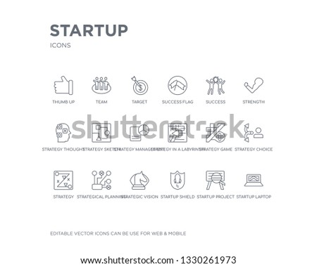 simple set of startup vector line icons. contains such icons as startup laptop, startup project search, shield, strategic vision, strategical planning, strategy, strategy choice, strategy game, in a