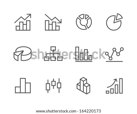 Simple set of stroked diagram and graphs related vector icons for your design.