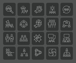 Simple Set of Team Work Related Vector Line Icons with a smooth dark background. Contains such Icons as Collaboration, Research and Meeting. Editable Stroke. 58x58 Pixel Perfect.