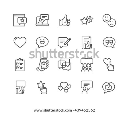 Simple Set of Testimonials Related Vector Line Icons.  Contains such Icons as Customer Relationship Management, Feedback, Review, Emotion symbols and more.  #439452562