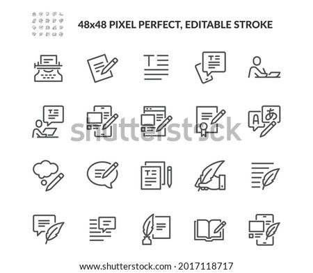 Simple Set of Text Related Vector Line Icons. Contains such Icons as Write Review, Creative Article Writing, Internet Content Editing and more. Editable Stroke. 48x48 Pixel Perfect.