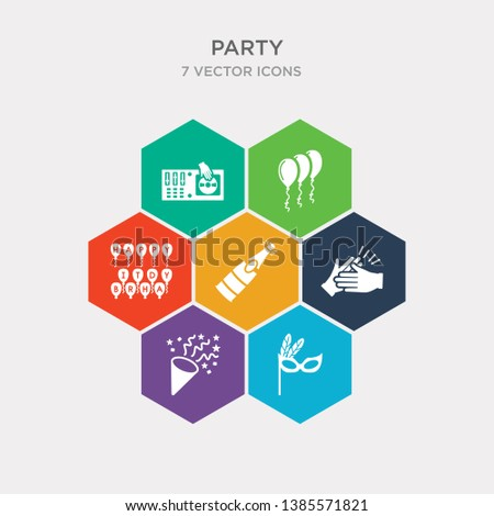 simple set of theatre masks, sprinkle stars, claping hands, opening champagne bottle icons, contains such as icons birthday wish, three ornamental balloons, dj playing records and more. 64x64 pixel