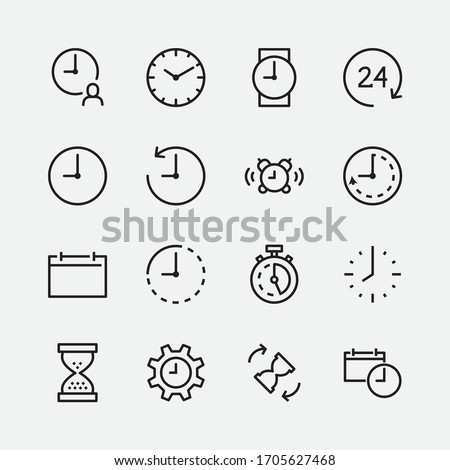 Simple Set of Time and Clock Vector Line Icons. Contains such Icons as Alarm clock, Hourglass, Settings, Stopwatch, Calendar, Timer and more. Editable Stroke. 48x48 Pixel Perfect