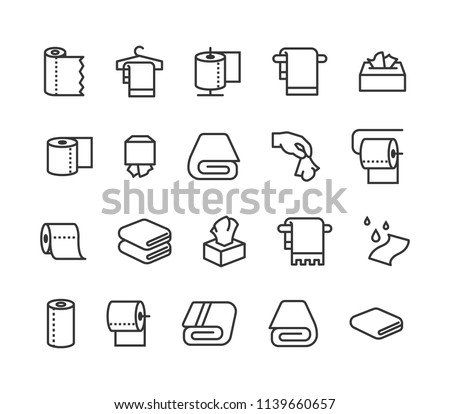 Simple Set of Towels and Napkins Related Vector Line Icons. Contains such Icons as Wet Towel, Sanitary Dispenser, Toilet Paper and more. Editable Stroke. 48x48 Pixel Perfect.