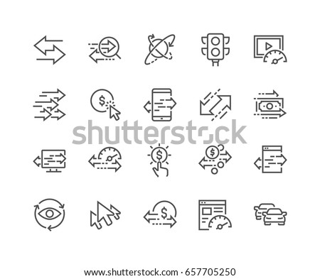 Simple Set of Traffic Related Vector Line Icons.  Contains such Icons as Pay per Click, Monetize, Traffic Speed and more. Editable Stroke. 48x48 Pixel Perfect.