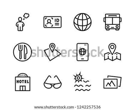 c128f1045 Simple Set of Travel Related Vector Line Icons. Contains such Icons as  Luggage
