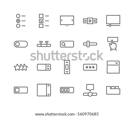 Simple Set of UI Elements Related Vector Line Icons.  Contains such Icons as Dropdown, Check Boxes, Tabs and more. Editable Stroke. 48x48 Pixel Perfect.