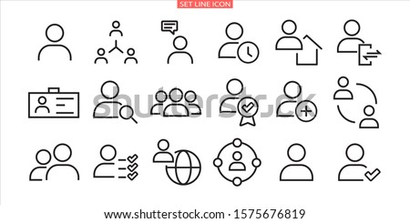 Simple set of user related vector line icons. Contains icons such as man, woman, profile, personal quality and many other good icons.