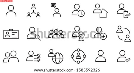 Simple set of user related vector line icons. Contains icons such as man, woman, profile, personal quality and many other good icons. Foto stock ©