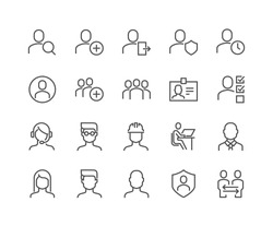 Simple Set of Users Related Vector Line Icons.  Contains such Icons as Male, Female, Profile, Personal Quality and more. Editable Stroke. 48x48 Pixel Perfect.