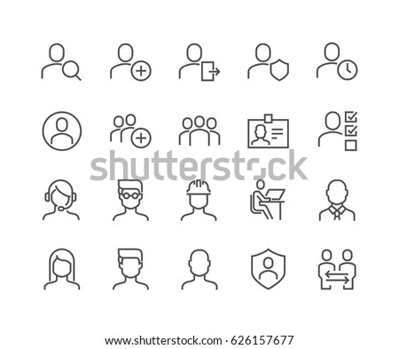 Shutterstock Simple Set of Users Related Vector Line Icons.  Contains such Icons as Male, Female, Profile, Personal Quality and more. Editable Stroke. 48x48 Pixel Perfect.