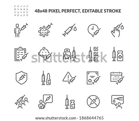 Simple Set of Vaccine Related Vector Line Icons. Contains such Icons as Warning, Medical Syringe, Quality Certificate and more. Editable Stroke. 48x48 Pixel Perfect. Foto stock ©