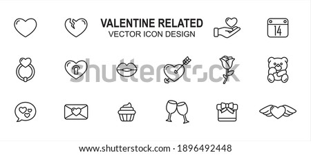 Simple Set of valentine love wedding Related lineal style Vector icon user interface graphic design. Contains such Icons as love, heart, broken heart, give, calendar, wedding ring, heart lock, lip, Foto stock ©