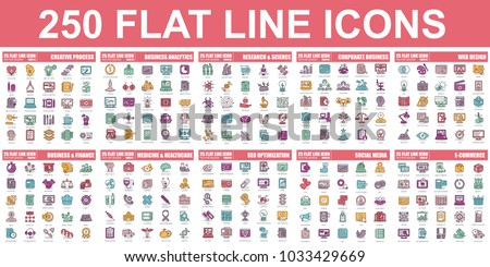 Simple set of vector flat line icon. Contains such Icons as Creative Process, Business Analytics, Finance, E-Commerce, SEO, Medicine and Healthcare, Social Media and more. Linear pictogram pack.