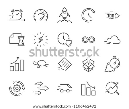 simple set of vector line icon, contain such lcon as speed, agile, boost, process, time and more #1106462492