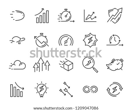 simple set of vector line icons, contain such lcon as speed, agile, boost, process, time and more #1209047086