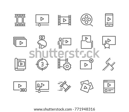 Simple Set of Video Content Related Vector Line Icons.  Contains such Icons as Presentation, Stream, Library and more. Editable Stroke. 48x48 Pixel Perfect.
