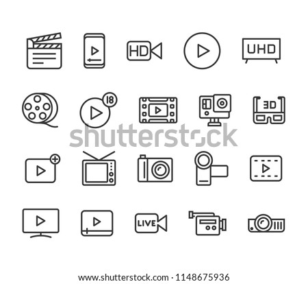 Simple Set of Video Editing Related Vector Line Icons. Contains such Icons as Filters, Frame Rate and more. Editable Stroke. 48x48 Pixel Perfect.