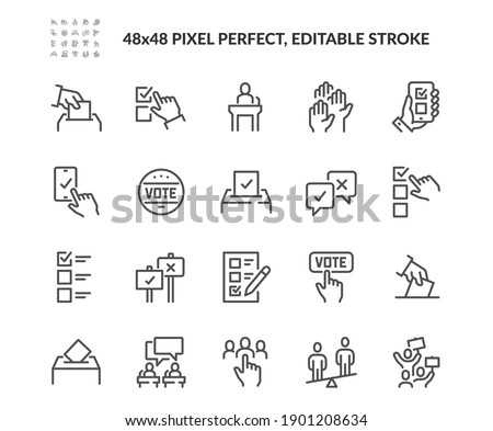 Simple Set of Voting Related Vector Line Icons. Contains such Icons as Raising Hands, Ratings of Candidates, Electronic voting and more. Editable Stroke. 48x48 Pixel Perfect. Foto stock ©