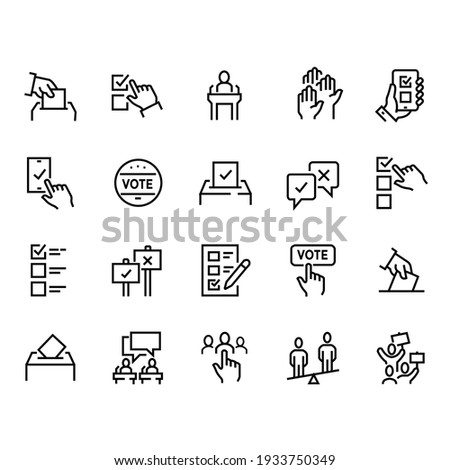 Simple Set of Voting Related Vector Line Icons. Contains such Icons as Raising Hands, Ratings of Candidates, Electronic voting and more. Editable Stroke Сток-фото ©