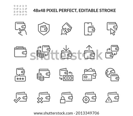 Simple Set of Wallet Related Vector Line Icons. Contains such Icons as Top up or Withdraw Funds, Money Transfer, Payment and more. Editable Stroke. 48x48 Pixel Perfect.