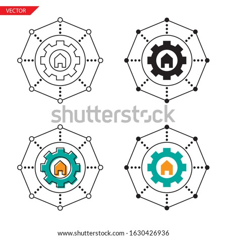 Simple setting property management icon on white background 4 types such as outline, black, color, outline and color. Vector illustration. ストックフォト ©