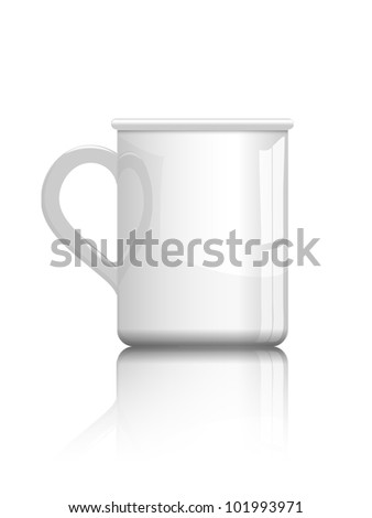 simple shiny white tea or coffee cup isolated on white for use on samples of logo  or text fit